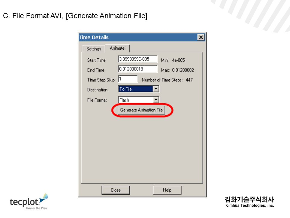 C. File Format AVI, [Generate Animation File]